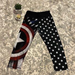 Patriotic American Flag & Shield Athletic Leggings
